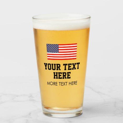 Patriotic beer glasses with American flag logo