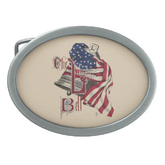 Patriotic Belt Buckle with Liberty Bell and Flag