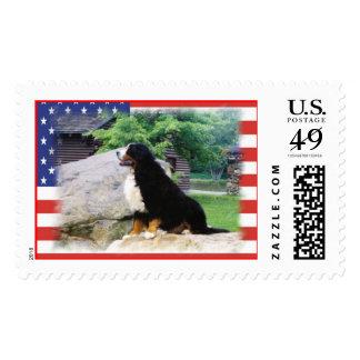 Patriotic Bernese Mountain Dog - Customized Stamp