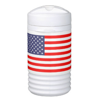 Patriotic beverage cooler with American flag