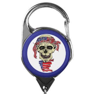 Patriotic Biker Skull with American Flag Bandana Badge Holder