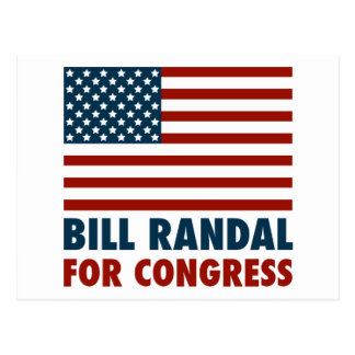 Patriotic Bill Randall for Congress Postcard