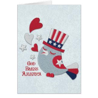 Patriotic Bird Tweets God Bless America Card