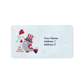 Patriotic Bird Tweets God Bless America Address Label