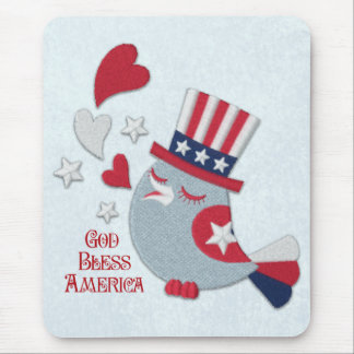 Patriotic Bird Tweets God Bless America Mouse Pad