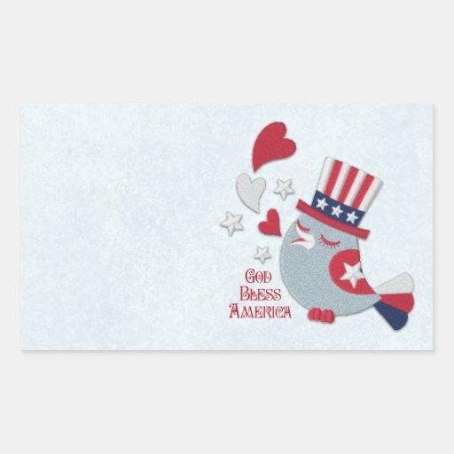 Patriotic Bird Tweets God Bless America Stickers