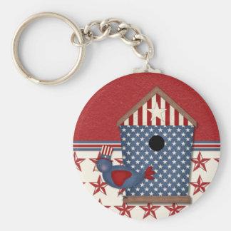 Patriotic Birdhouse on Red Stars Basic Round Button Keychain