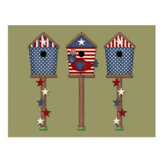 Patriotic Birdhouses (2) Postcards