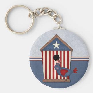 Patriotic Birdhouses Border (2) Basic Round Button Keychain