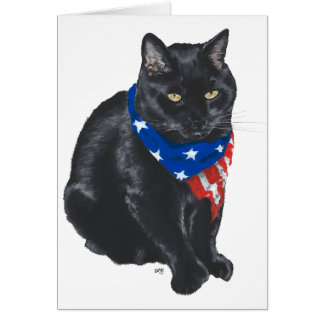 Patriotic Black Cat Card