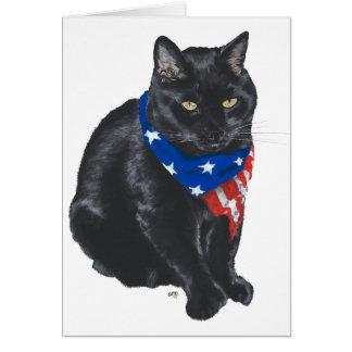 Patriotic Black Cat Greeting Card