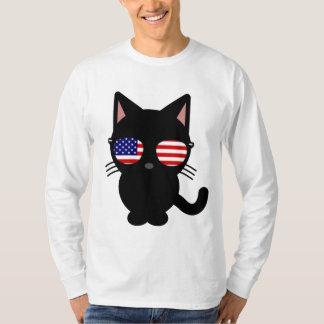 Patriotic Black Cat Funny T-shirts, Sunglasses T-Shirt