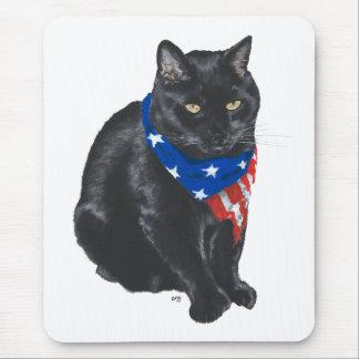 Patriotic Black Cat Mouse Pad