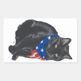 Patriotic Black Cat Stickers