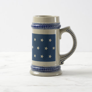 Patriotic Blue and White Stars Freedom Beer Stein