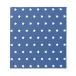 Patriotic Blue and White Stars Freedom Memo Pad