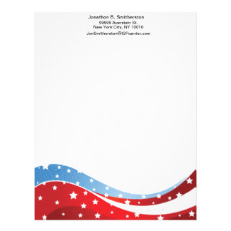 Patriotic Blue Bottom Centered Letterhead