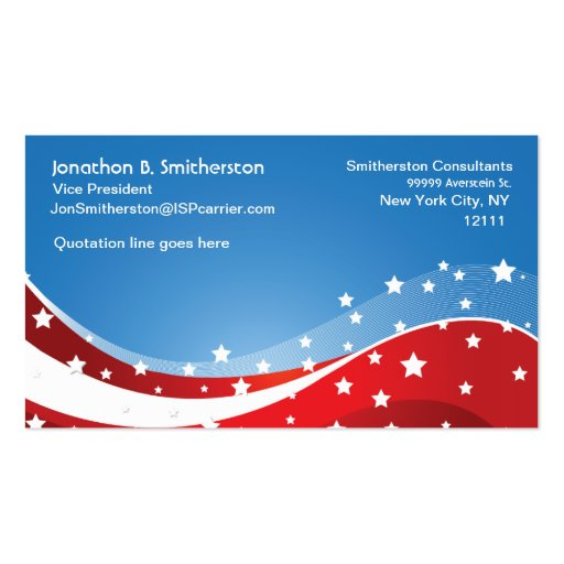 Patriotic blue double sided standard business cards pack for Patriotic business card template