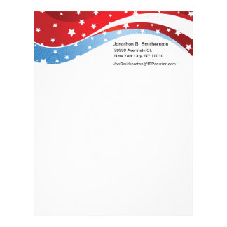 Patriotic Blue on White Letterhead