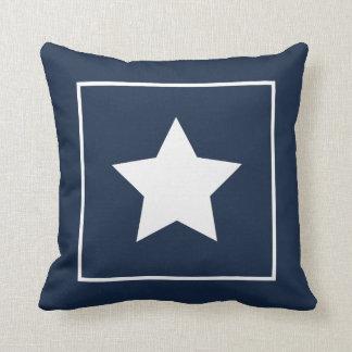 Patriotic Blue & White Star Pillow