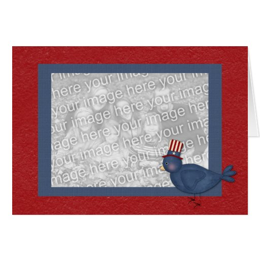 Patriotic Bluebird on Red Frame Greeting Card