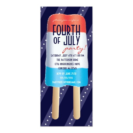 Patriotic Bombpop Red White Blue 4th of July Party Invitations