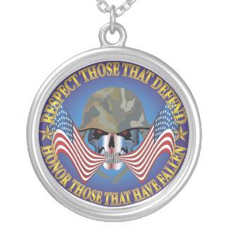 Patriotic Bones Round Pendant Necklace