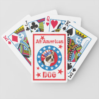 Patriotic Boston Terrier Bicycle Playing Cards