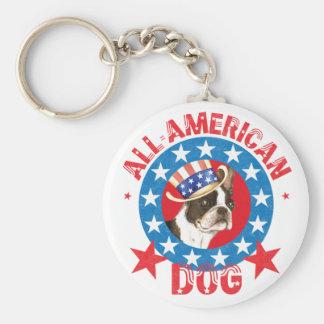 Patriotic Boston Terrier Keychain