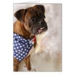 Patriotic boxer dog notecard cards