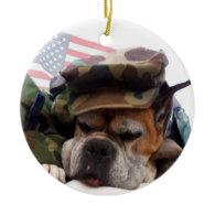 Patriotic Boxer dog ornament
