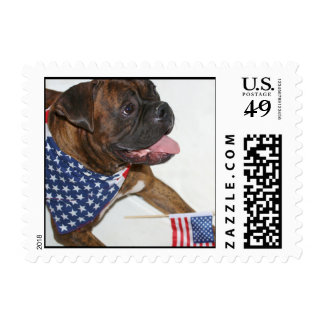 Patriotic boxer dog small postage