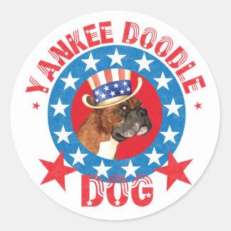 Patriotic Boxer Classic Round Sticker