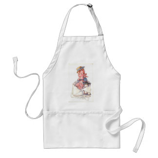 Patriotic Boy and a Puppy Adult Apron