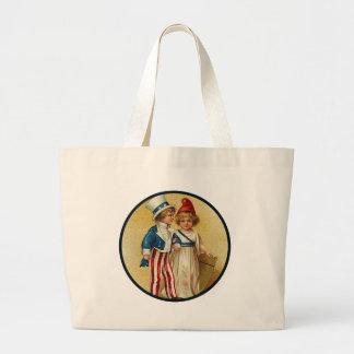 Patriotic_Boy and Girl_Bag Large Tote Bag