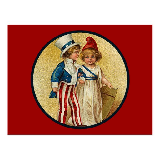 Patriotic_Boy and Girl_Postcard Postcard