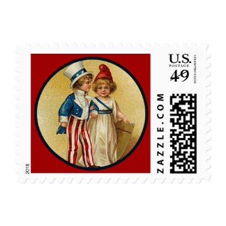 Patriotic Boy and Girl Small Postage