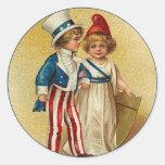 Patriotic_Boy and Girl_Sticker Round Stickers