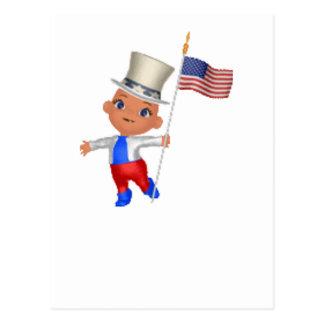 Patriotic Boy with flag Postcard