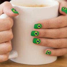Patriotic Brazil Flag Nails Minx® Nail Art at Zazzle