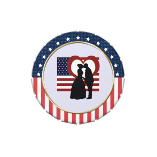 Patriotic Bride and Groom SM Candy Favor Tin Jelly Belly Tin