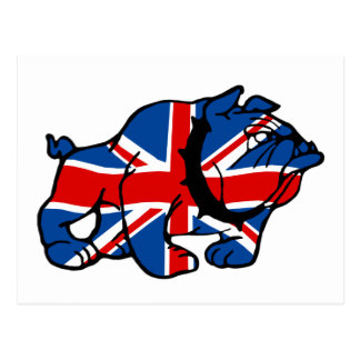 Patriotic British Bulldog Britsh flag Post Card