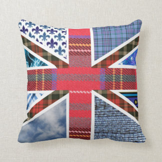 Patriotic British Flag made of fabric patterns Throw Pillow