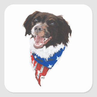 Patriotic Brittany Square Sticker