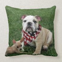 Patriotic bulldog American Mojo pillow