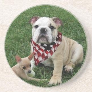 patriotic bulldog beverage coasters