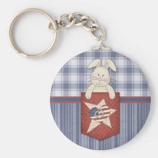 Patriotic Bunny Basic Round Button Keychain