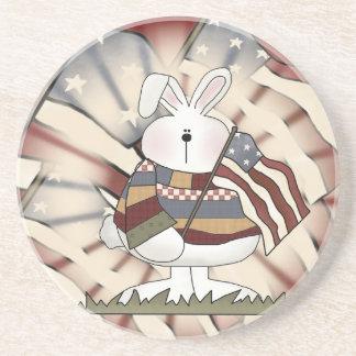 Patriotic Bunny Rabbit Sandstone Coaster