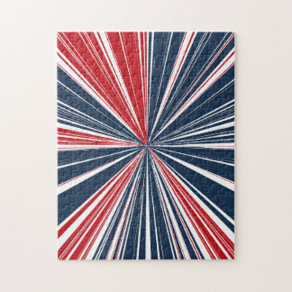 Patriotic Burst Abstract Jigsaw Puzzle