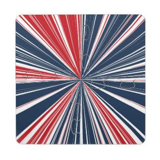 Patriotic Burst Abstract Puzzle Coaster
